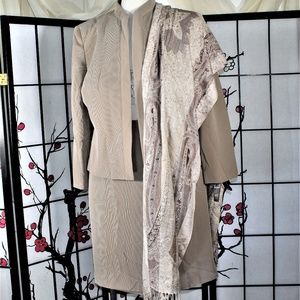 CAREER SKIRT SUIT TAUPE PLUS 18 NWT